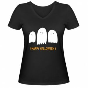 Women's V-neck t-shirt Three ghosts Happy halloween - PrintSalon