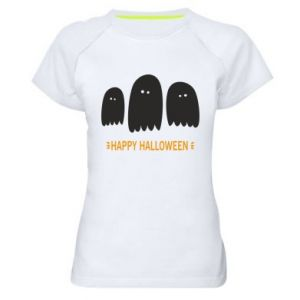 Women's sports t-shirt Three ghosts Happy halloween - PrintSalon