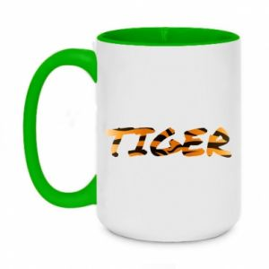 Two-toned mug 450ml Tiger lettering texture
