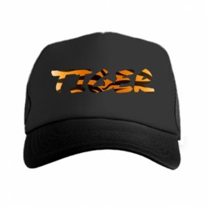 Trucker hat Tiger lettering texture