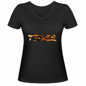 Damska koszulka V-neck Tiger lettering texture - PrintSalon
