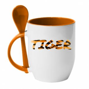 Mug with ceramic spoon Tiger lettering texture