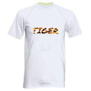 Męska koszulka sportowa Tiger lettering texture - PrintSalon