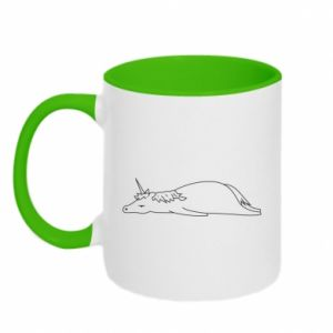 Two-toned mug Tired unicorn - PrintSalon
