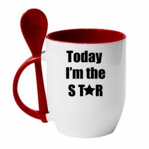 Kubek z ceramiczną łyżeczką Today I'm the STАR