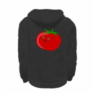 Kid's zipped hoodie % print% Tomato