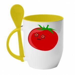 Kubek z ceramiczną łyżeczką Tomato