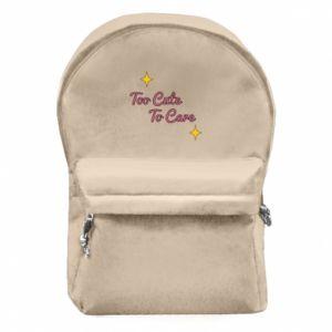 Plecak z przednią kieszenią Too cute to care