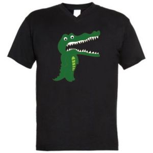 Men's V-neck t-shirt Toothy crocodile - PrintSalon