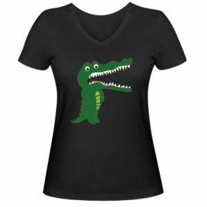 Damska koszulka V-neck Toothy crocodile