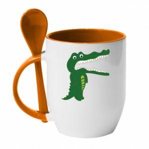 Kubek z ceramiczną łyżeczką Toothy crocodile