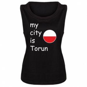 Damska koszulka bez rękawów My city is Torun