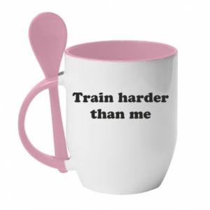 Kubek z ceramiczną łyżeczką Train harder than me