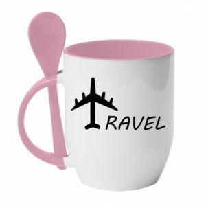 Mug with ceramic spoon Travel