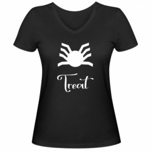 Women's V-neck t-shirt Treat - PrintSalon
