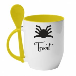 Mug with ceramic spoon Treat - PrintSalon