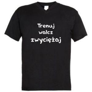 Męska koszulka V-neck Trenuj, walcz, zwyciężaj