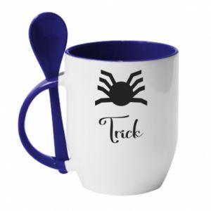 Mug with ceramic spoon Trick - PrintSalon