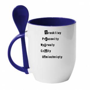 Mug with ceramic spoon Caring, Hardworking - PrintSalon