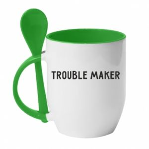 Kubek z ceramiczną łyżeczką Trouble maker