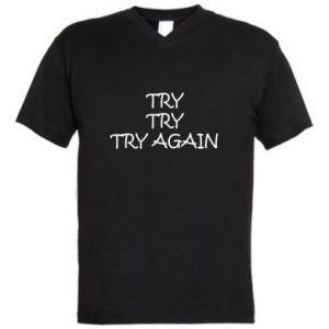 Męska koszulka V-neck Try, try, try again