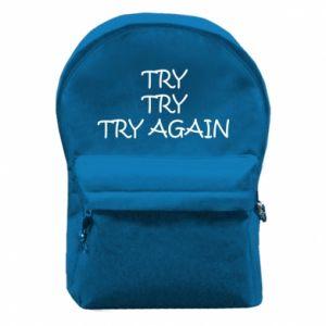 Plecak z przednią kieszenią Try, try, try again