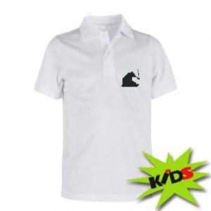 Dziecięca koszulka polo Niedźwiedź z fajką