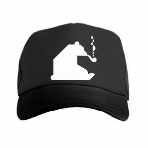 Czapka trucker Niedźwiedź z fajką