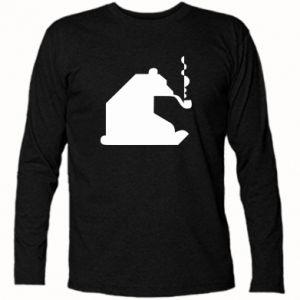 Koszulka z długim rękawem Niedźwiedź z fajką