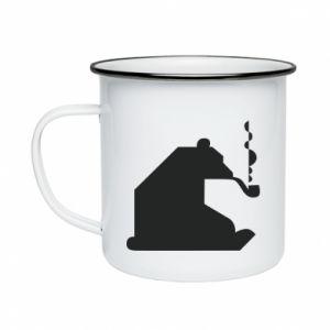 Kubek emaliowane Niedźwiedź z fajką