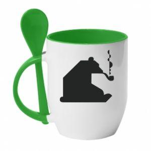 Kubek z ceramiczną łyżeczką Niedźwiedź z fajką