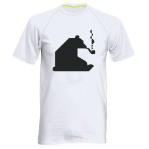 Men's sports t-shirt Bear with a pipe