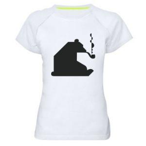 Damska koszulka sportowa Niedźwiedź z fajką