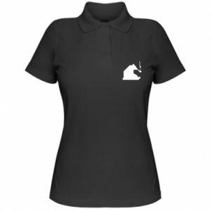Damska koszulka polo Niedźwiedź z fajką