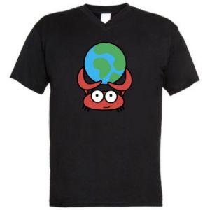 Męska koszulka V-neck Trzymam świat!