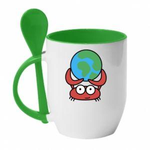 Kubek z ceramiczną łyżeczką Trzymam świat!