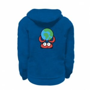 Kid's zipped hoodie % print% I hold the world!