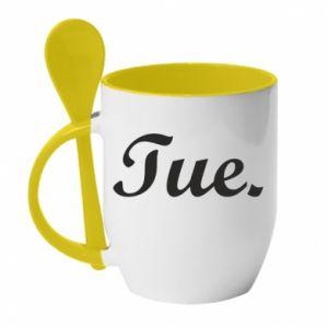 Kubek z ceramiczną łyżeczką Tuesday