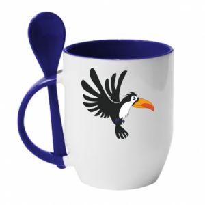 Kubek z ceramiczną łyżeczką Tukan ilustracja w locie