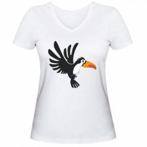Damska koszulka V-neck Tukan ilustracja w locie