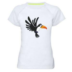 Damska koszulka sportowa Tukan ilustracja w locie