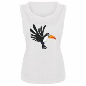Damska koszulka bez rękawów Tukan ilustracja w locie