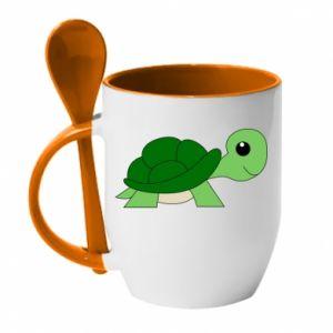 Kubek z ceramiczną łyżeczką Baby turtle