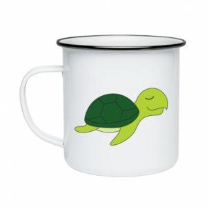 Enameled mug Sleeping turtle - PrintSalon