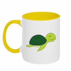 Two-toned mug Sleeping turtle - PrintSalon
