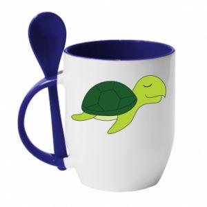 Kubek z ceramiczną łyżeczką Sleeping turtle