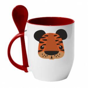 Kubek z ceramiczną łyżeczką Tygrys z nadrukiem dla dzieci