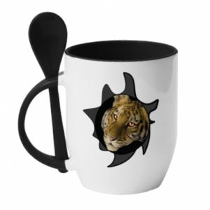 Mug with ceramic spoon Eyes of the Tiger