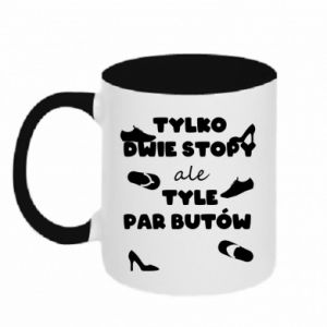 Two-toned mug Only two feet but so many pairs of shoes - PrintSalon