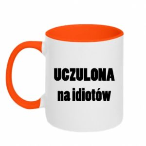 Two-toned mug Sensitive to idiots - PrintSalon